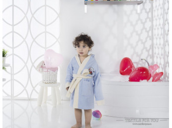 Халат детский с капюшоном Велюр KARNA SNOP (6-7 лет) - Голубой
