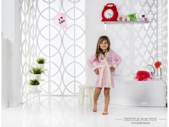 Халат детский с капюшоном Велюр KARNA SNOP (6-7 лет) - Розовый