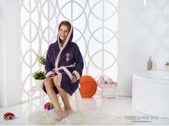 Халат детский с капюшоном Велюр KARNA SNOP (8-9 лет) - Фиолетовый