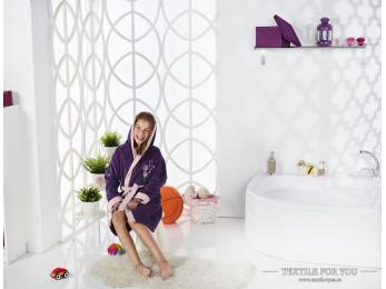 Халат детский с капюшоном Велюр KARNA SNOP (10-11 лет) - Фиолетовый