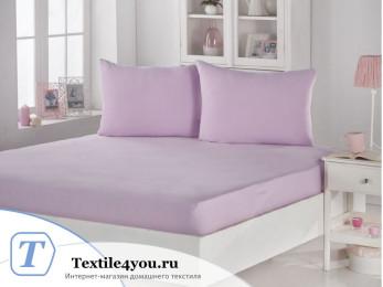 Простынь на резинке KARNA ACELYA трикотажная (160x200 см+2 наволочки) - Розовый