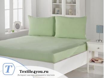 Простынь на резинке KARNA ACELYA трикотажная (180x200 см+2 наволочки) - Зеленый