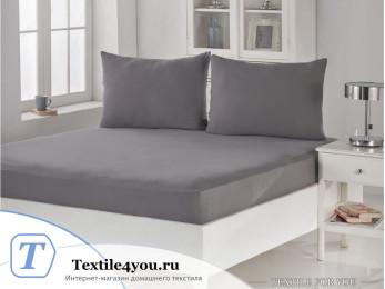 Простынь на резинке KARNA ACELYA трикотажная (180x200 см+2 наволочки) - Серый