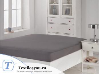 Простынь на резинке KARNA ACELYA трикотажная (160x200 см) - Серый
