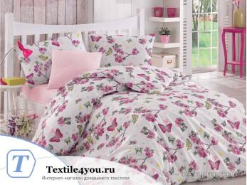 Постельное белье RANFORCE BUTTERFLE (1,5 спальный) - (50x70 см - 1 шт.) - Фуксия