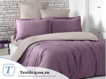 Постельное белье KARNA LOFT двухстороннее (1,5 спальный) Светло-фиолетовый - Капучино