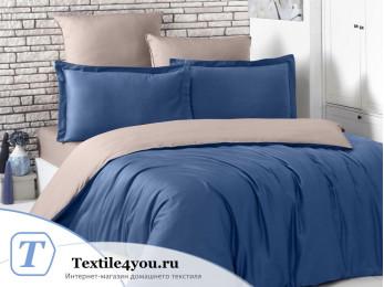Постельное белье KARNA LOFT двухстороннее (1,5 спальный) Синий - Капучино
