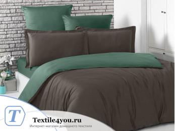 Постельное белье KARNA LOFT двухстороннее (1,5 спальный) Шоколадный - Зеленый