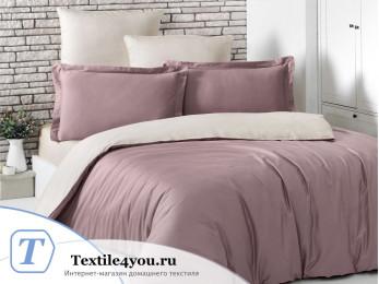 Постельное белье KARNA LOFT двухстороннее (Евро) Грязно-розовый - Бежевый
