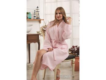Халат вафельный женский KARNA ALERON L (48) - Розовый