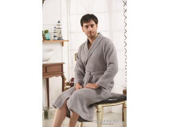 Халат вафельный мужской KARNA ALERON XL (50) - Серый