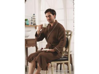 Халат вафельный мужской KARNA ALERON XL (50) - Коричневый