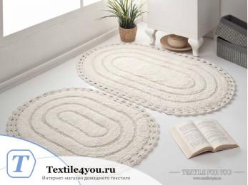Набор ковриков для ванной MODALIN YANA (60x100 см; 50x70 см) - Кремовый