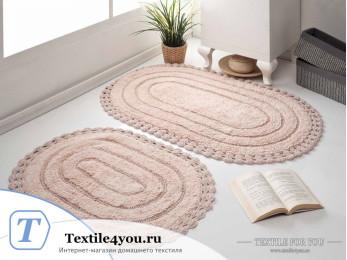 Набор ковриков для ванной MODALIN YANA (60x100 см; 50x70 см) - Пудра