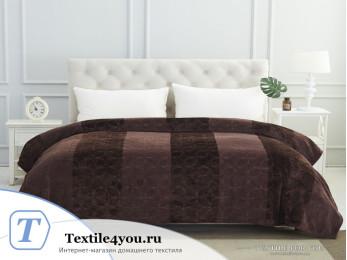 Плед KARNA PALMA Велсофт Жаккард (220x240 см) - Коричневый