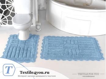 Набор ковриков для ванной MODALIN ANCOR (60x100 см; 50x70 см) Голубой