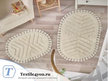 Набор ковриков для ванной MODALIN CROSS (60x100 см; 50x70 см) Кремовый