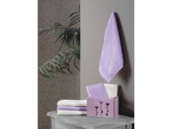 Салфетки махровые KARNA FLORI в корзине (30x30 см - 6 шт.) - Фиолетовый