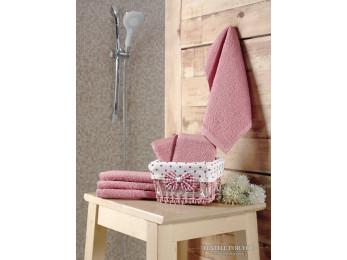 Салфетки махровые KARNA PRUVA в корзине (30x30 см - 6 шт.) - Розовый