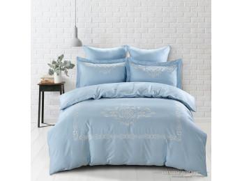 Постельное белье Сатин с вышивкой KARNA REVENA (Евро) - Голубой