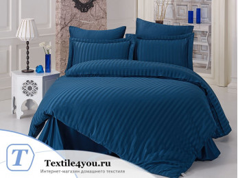 Постельное белье KARNA PERLA Сатин Бамбук (Евро) - Синий