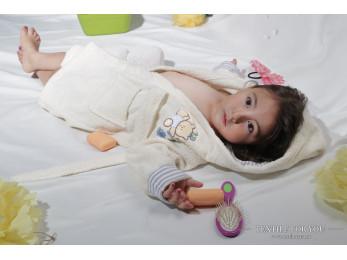 Халат детский махровый KARNA TEENY (4-5 лет) - Кремовый