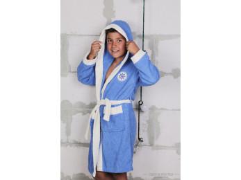 Халат детский махровый KARNA SILVER (10-11 лет) - Голубой