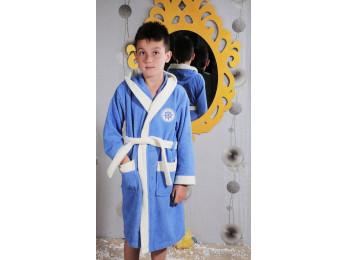 Халат детский махровый KARNA SILVER (6-7 лет) - Голубой