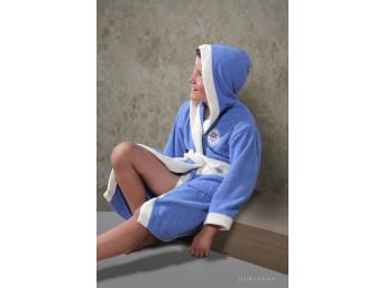 Халат детский махровый KARNA SILVER (8-9 лет) - Голубой