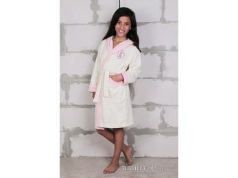 Халат детский махровый KARNA SILVER (10-11 лет) - Кремовый