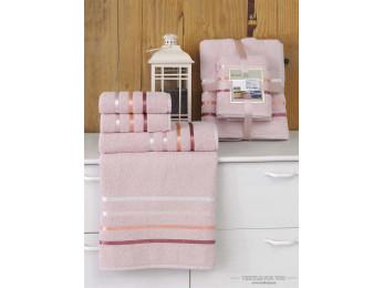 Набор махровых полотенец KARNA BALE  (4 шт.) - Светло-розовый