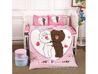 Постельное белье для новорожденных DO&CO  LOVE Сатин
