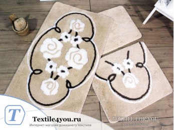 Набор ковриков для ванной DO&CO  JADORE (60x100 см; 50x60 см) Бежевый