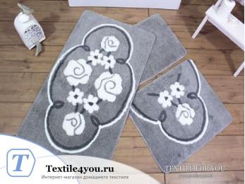 Набор ковриков для ванной DO&CO  JADORE (60x100 см; 50x60 см) Серый