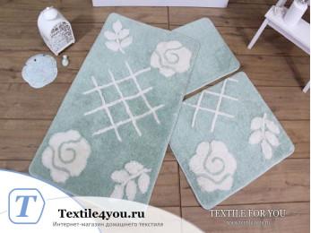 Набор ковриков для ванной DO&CO  PASTEL (60x100 см; 50x60 см) Мятный