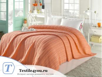 Плед вязаный DO&CO DANTE (220x240 см) Персиковый