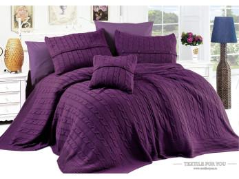 Постельное белье DO&CO  DIAMOND с вязаным пледом (Евро) Фиолетовый