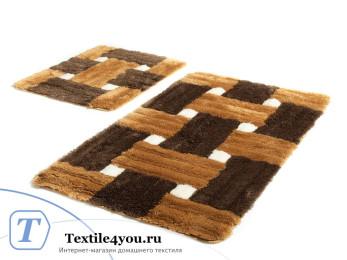 Набор ковриков для ванной DO&CO  PIAZZA (60x100 см; 50x60 см) Коричневый