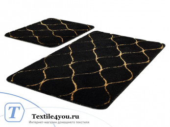 Набор ковриков для ванной DO&CO  INFINITY (60x100 см; 50x60 см) Чёрный