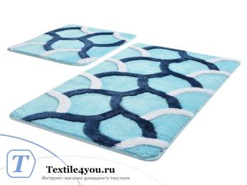Набор ковриков для ванной DO&CO  ELEGANT (60x100 см; 50x60 см) Бирюзовый