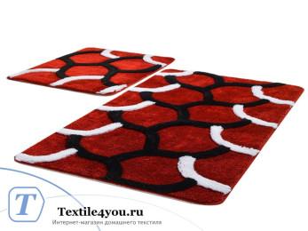 Набор ковриков для ванной DO&CO  ELEGANT (60x100 см; 50x60 см) Красный