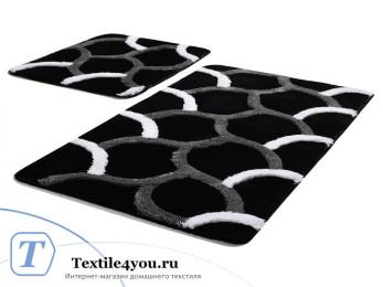 Набор ковриков для ванной DO&CO  ELEGANT (60x100 см; 50x60 см) Чёрный