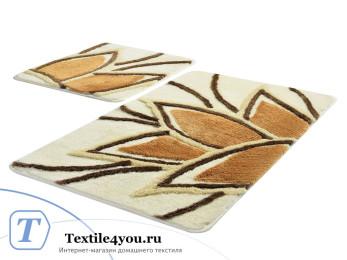 Набор ковриков для ванной DO&CO  LOTUS (60x100 см; 50x60 см) Бежевый