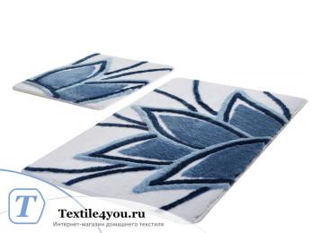 Набор ковриков для ванной DO&CO  LOTUS (60x100 см; 50x60 см) Голубой