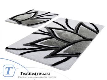 Набор ковриков для ванной DO&CO  LOTUS (60x100 см; 50x60 см) Серый