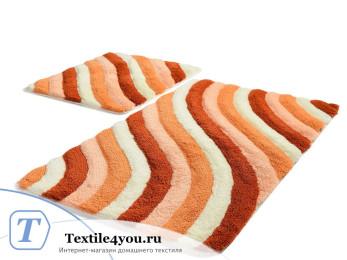 Набор ковриков для ванной DO&CO  COLORFUL (60x100 см; 50x60 см) Персиковый