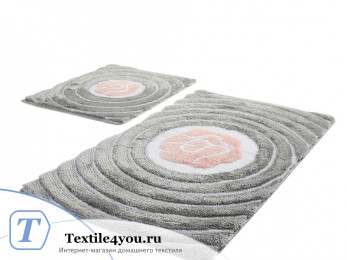 Набор ковриков для ванной DO&CO FLORIA (60x100 см; 50x60 см) Антрацит