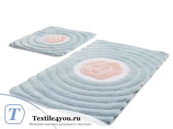Набор ковриков для ванной DO&CO FLORIA (60x100 см; 50x60 см) Голубой