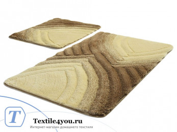 Набор ковриков для ванной DO&CO  STELLA (60x100 см; 50x60 см) Коричневый