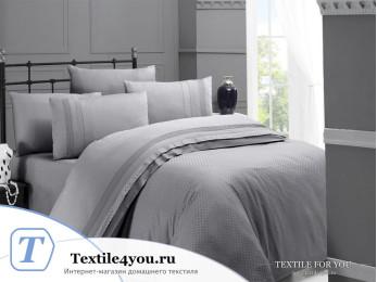 Постельное белье DO&CO SQUARE Сатин Жаккард DELUX (Евро) Серый